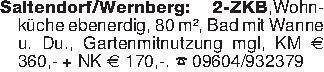 Saltendorf/Wernberg: 2-ZKB,Woh...