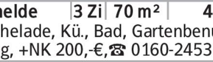 Vechelade, Kü., Bad, Gartenbenutzung, +NK 200,-€,[S:A] 0160-2453811