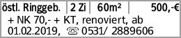 östl. Ringgeb. 2 Zi 60m² 500,-€ + NK 70,- + KT, renoviert, ab 01.02.2019,...
