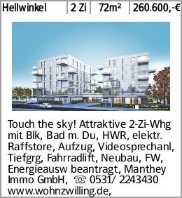 Hellwinkel 2 Zi 72m² 260.600,-€ Touch the sky! Attraktive 2-Zi-Whg mit...