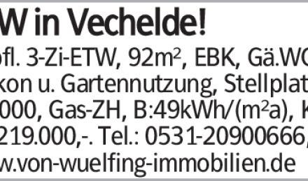 ETW in Vechelde! Gepfl. 3-Zi-ETW, 92m², EBK, Gä.WC, Balkon u. Gartennutzung,...
