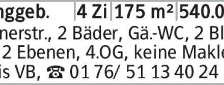 Anzeigentitel Bernerstr., 2 Bäder, Gä.-WC, 2 Blk., auf 2 Ebenen, 4.OG,...