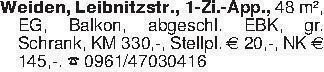 Weiden, Leibnitzstr., 1-Zi.-Ap...