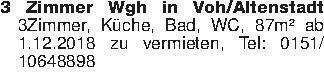 3 Zimmer Wgh in Voh/Altenstadt...