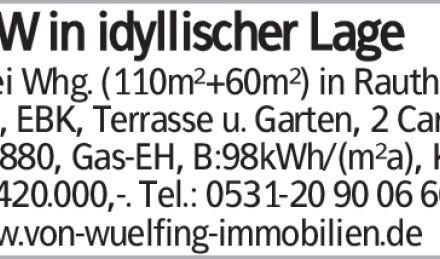 Zwei Whg. (110m²+60m²) in Rautheim, 6 Zi, EBK, Terrasse u. Garten, 2 Carp.,...