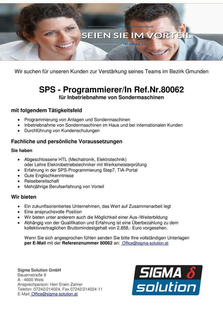 SPS - Programmierer/In für Inbetriebnahme von Sondermaschinen mit Erfahrung in der SPS-Programmierung Step7, TIA-Portal gesucht