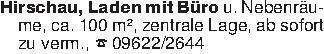 Hirschau, Laden mit Büro u. Ne...