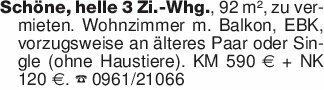 Schöne, helle 3 Zi.-Whg., 92 m...