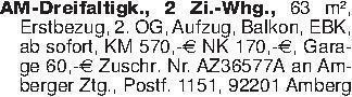 AM-Dreifaltigk., 2 Zi.-Whg., 6...