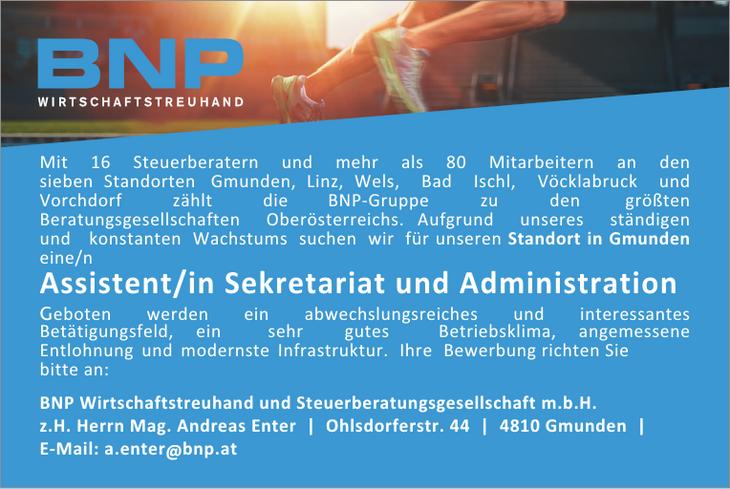Mit 16 Steuerberatern und mehr als 80 Mitarbeitern an den sieben Standorten Gmunden, Linz, Wels, Bad Ischl, Vöcklabruck und Vorchdorf zählt die BNP-Gruppe zu den größten Beratungsgesellschaften Oberös