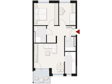Schöne, hochwertige 3-Zimmer-Wohnung mit Balkon in Neu-Ulm
