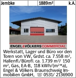 Jembke 1889m² k.A. Werkstatt, Lager und Büro vor den Toren von VW, Grdst....