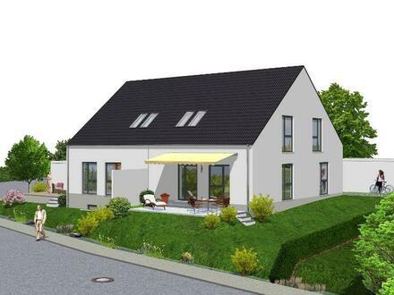Neubau von zwei Doppelhaushälften mit Garage und Carport