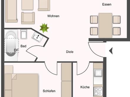Ausreichend Platz auf 55 qm, 2ZKDB und ZWEI Balkone