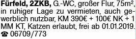 2-Zimmer Mietwohnung in Fürfeld (55546)