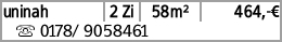uninah 2 Zi 58m² 464,-€ s 0178/ 9058461