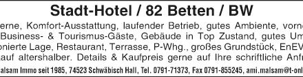Stadt-Hotel/ 82 Hotel-Betten/ Baden Württemberg