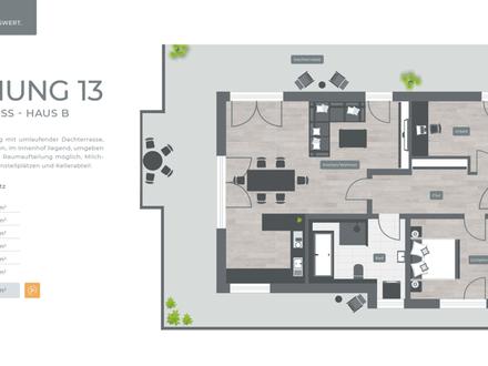 ZENTRAL. GRÜN. LEBENSWERT LANDSHUT 034 Haus B Nr.13 - 2.Obergeschoss 3-Zimmer