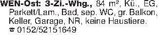 WEN-Ost: 3-Zi.-Whg., 84 m², Kü...