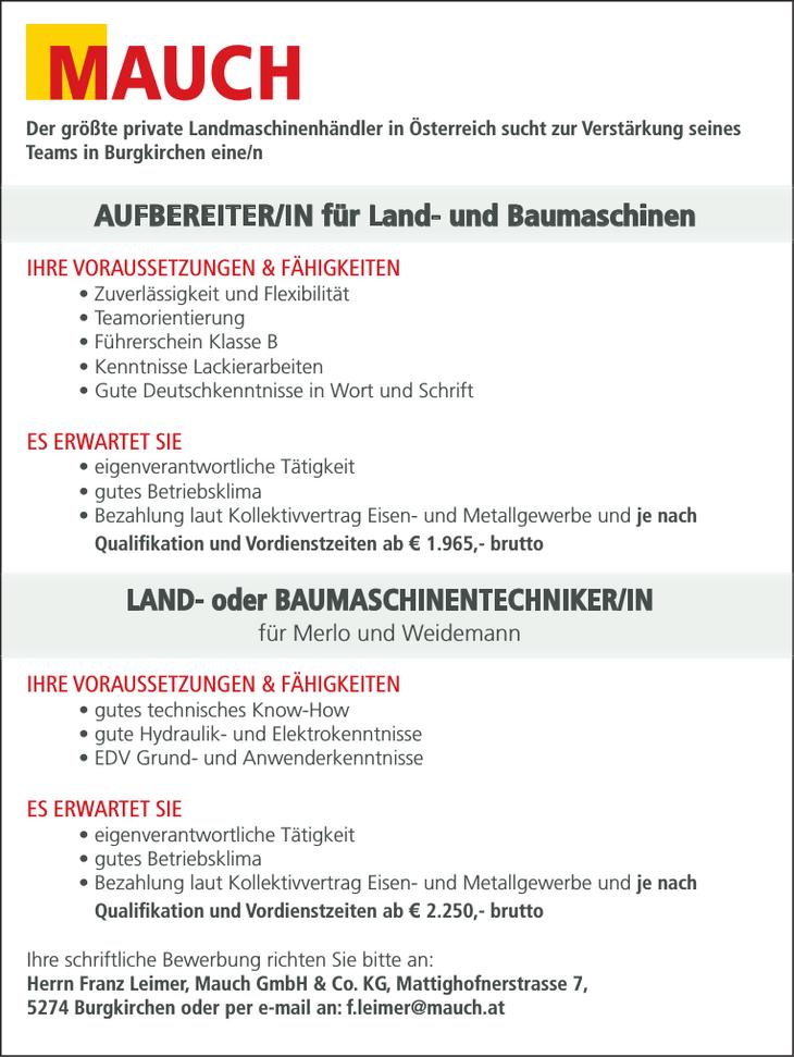 Der größte private Landmaschinenhändler in Österreich sucht zur Verstärkung seines Teams in Burgkirchen eine/n