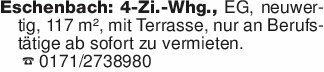 Eschenbach: 4-Zi.-Whg., EG, n...