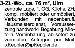 3-Zi.-Wo., Ulm zentrale Lage