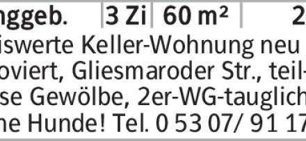 Anzeigentitel Preiswerte Keller-Wohnung neu renoviert, Gliesmaroder Str.,...
