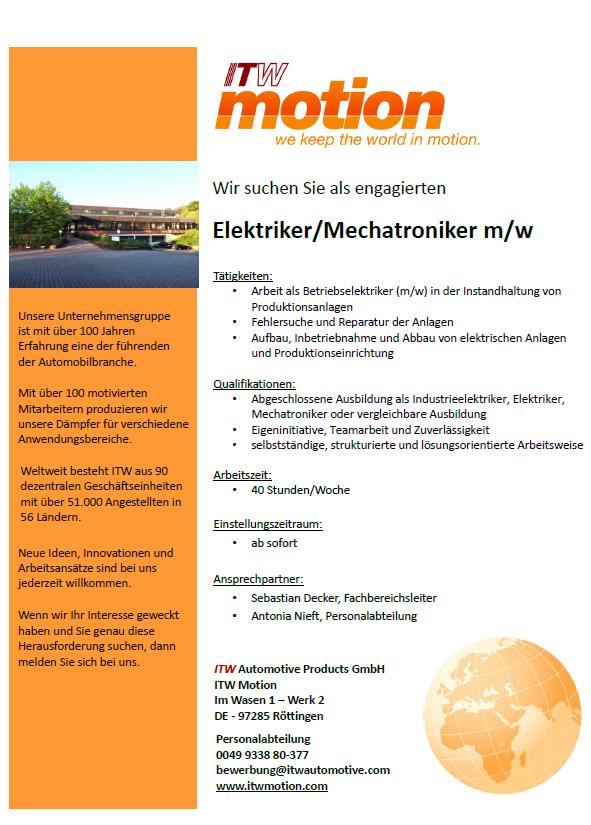 Stellenausschreibung Elektriker / Mechatroniker (m/w)