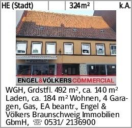 HE (Stadt) 324m² k.A. WGH, Grdstfl. 492 m², ca. 140 m² Laden, ca. 184...