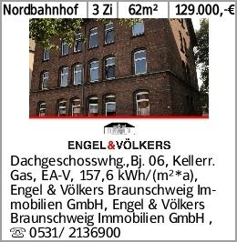 Nordbahnhof 3 Zi 62m² 129.000,-€ Dachgeschosswhg.,Bj. 06, Kellerr. Gas,...