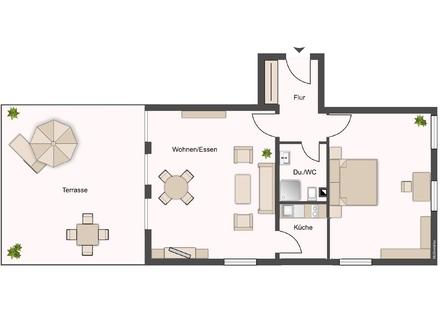 Große Terrasse, zwei Zimmer im Hansa4tel