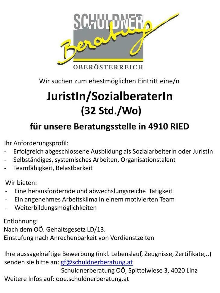 OÖ Schuldnerberatung sucht zum ehestmöglichen Eintritt eine/n Jursitin/SozialberaterIn für die Regionalstelle in Ried