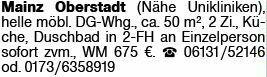 2-Zimmer Mietwohnung in Mainz (55131)