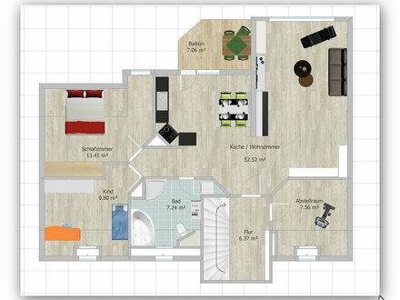 Ruhige, klimatisierte DG-Wohnung mit Balkon+Garten und Einbauküche im Zweifamilienhaus an der Elde in Parchim