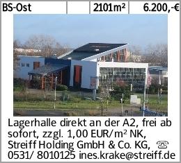 BS-Ost 2101m² 6.200,-€ Lagerhalle direkt an der A2, frei ab sofort, zzgl....