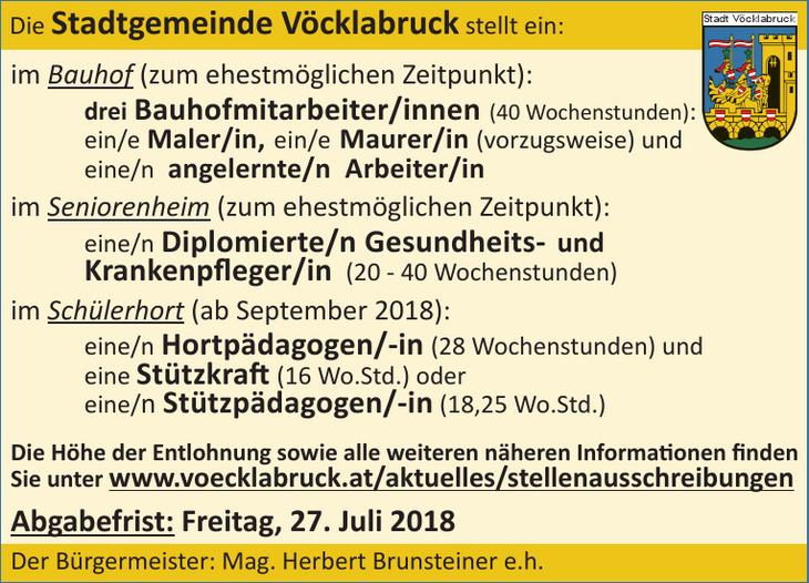 Die Stadgemeinde Vöcklabruck stellt ein: im Bauhof (zum ehestmöglichen Zeitpunkt): drei Bauhofmitarbeiter/innen (40 Wochenstunden): ein/e Maler/in, ein/e Maurer/in (vorzugsweise) und eine/n angelernte