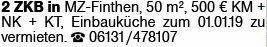 2-Zimmer Mietwohnung in Mainz-Finthen (55126)