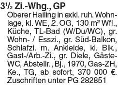 3½ Zi.-Whg., GPOberer Hailing in exkl. ruh. Wohnlage, kl. WE, 2. OG, 130...