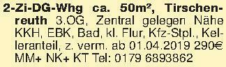 2-Zi-DG-Whg ca. 50m², Tirschen...