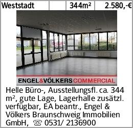 Weststadt 344m² 2.580,-€ Helle Büro-, Ausstellungsfl. ca. 344 m², gute...