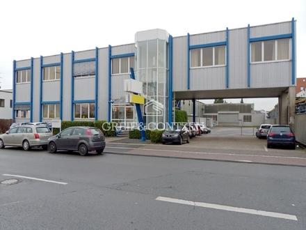 Mehrschiffige Halle mit Bürogebäude