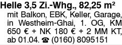 3,5 Zi. Whg., 82,25 m