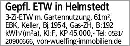 Gepfl. ETW in Helmstedt