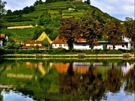 Blick auf Burg und See