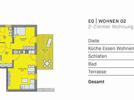 Erstbezug: toll geschnittene 2-Zimmerwohnung mit großer Terrasse, Kfz-Stellplatz, Keller, Bad mit Fenster + Wama-Anschl…