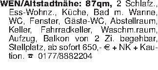 WEN/Altstadtnähe: 87qm, 2 Schl...