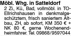 2.Zi. Whg. in Satteldorf