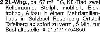 2 Zi.-Whg., ca. 67 m², EG, Kü....