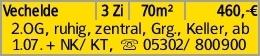 Vechelde 3 Zi 70m² 460,-€ 2.OG, ruhig, zentral, Grg., Keller, ab 1.07....