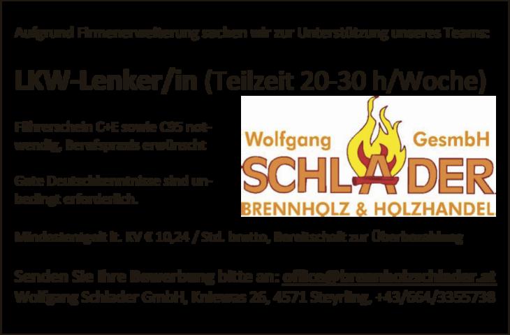 LKW-Lenker/in (Teilzeit 20-30 h/Woche) Führerschein C+E sowie C95 notwendig, Berufspraxis erwünscht